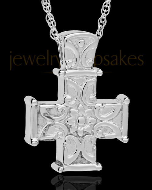 Cremation Locket 14K White Gold Companion Elegant Cross Keepsake