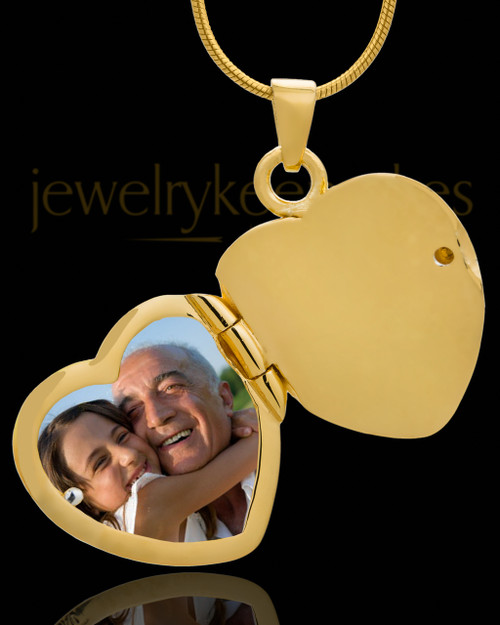 Necklace Urn 14K Gold Memory Heart Keepsake