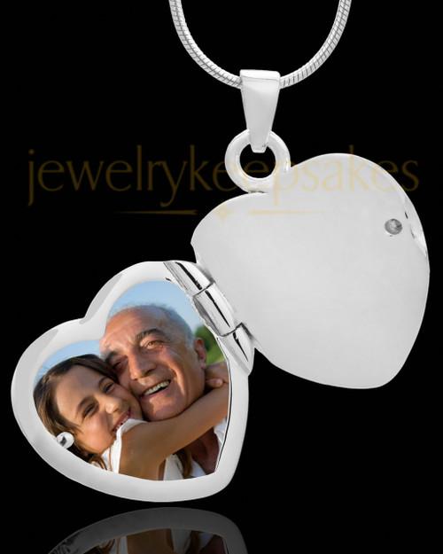 Necklace Urn 14K White Gold Memory Heart Keepsake