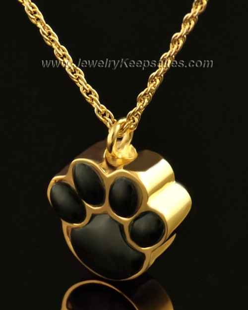 Pet Cremation Ash Jewelry 14K Gold Muddy Paw Keepsake