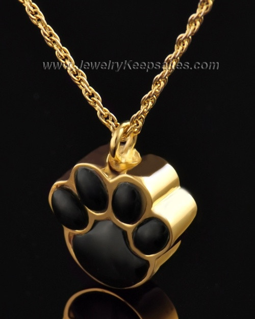 Pet Cremation Ash Jewelry Gold Plated Muddy Paw Keepsake