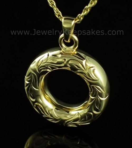 Cremation Necklace Gold Plated Everlasting Etched Keepsake