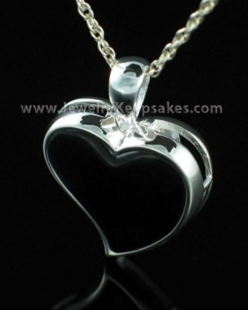 Cremains Locket Sterling Silver Shadow Heart Keepsake