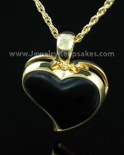 Cremains Locket Gold Plated Shadow Heart Keepsake