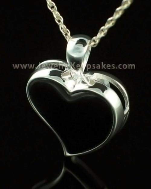 Cremains Locket 14K White Gold Shadow Heart Keepsake