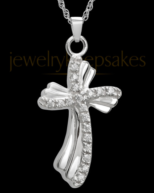 Pendant Keepsake Urn Sterling Silver Quartz Cross
