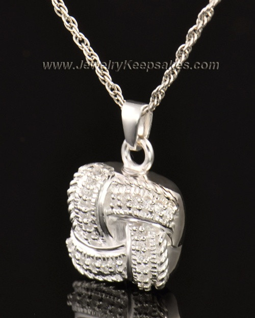 Cremation Keepsake 14K White Gold Interlace