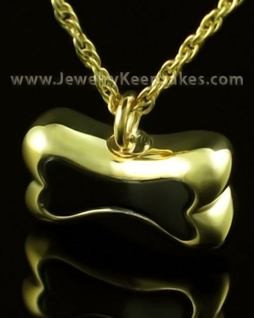 Pet Ash Urn Pendant 14K Gold Black Bone