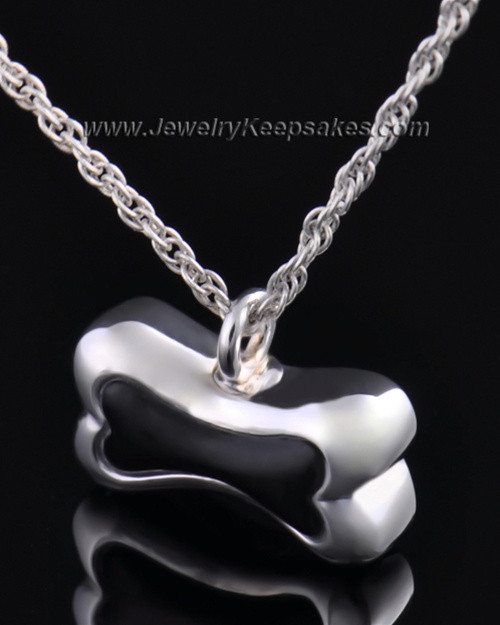 Pet Ash Urn Pendant Sterling Silver Black Bone