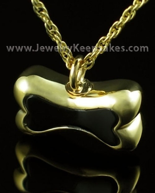 Pet Ash Urn Pendant Gold Plated Black Bone