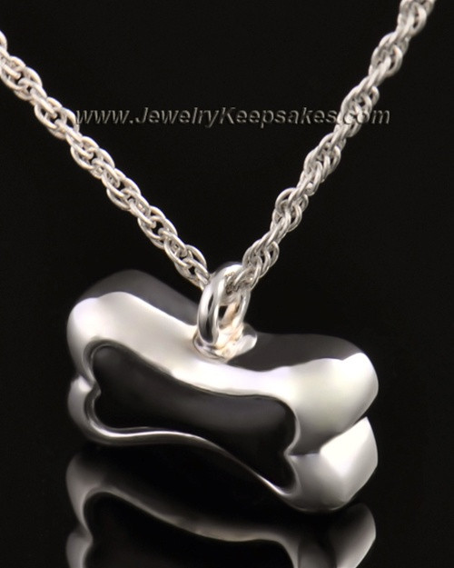 Pet Ash Urn Pendant 14K White Gold Black Bone