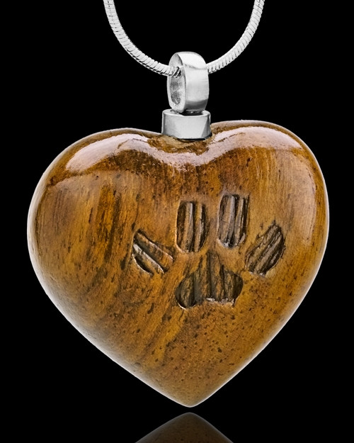 Memorial Locket Large Wood Pawed Heart