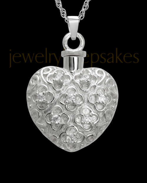 Necklace Urn 14K White Gold Twinkle Heart