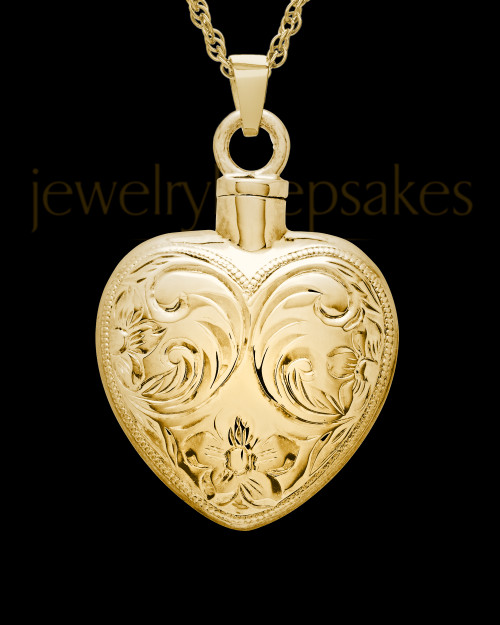 Cremation Urn Locket Gold Plated Spirit Heart