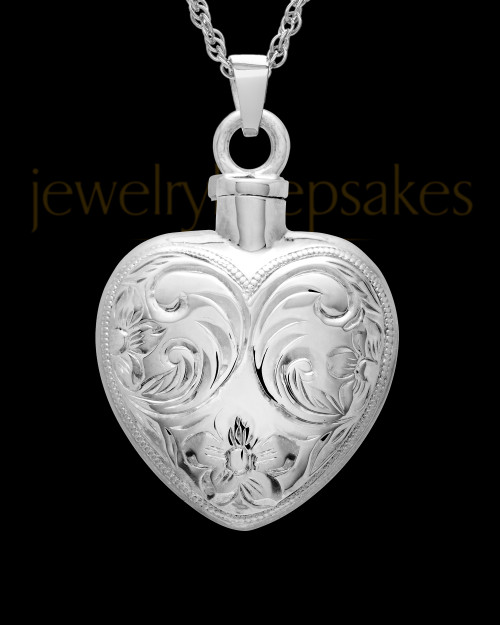 Cremation Urn Locket 14K White Gold Spirit Heart