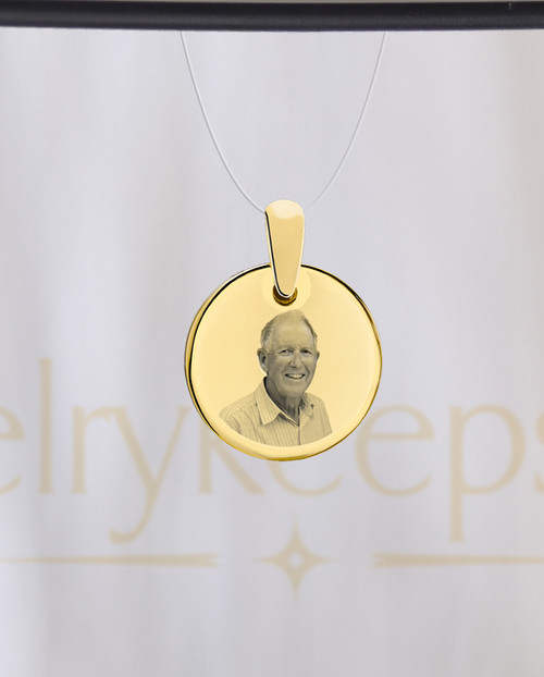 Photo Engraved Round Reflection Pendant Gold Plated
