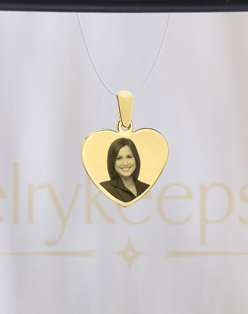 Photo Engraved Heart Reflection Pendant Gold Plated