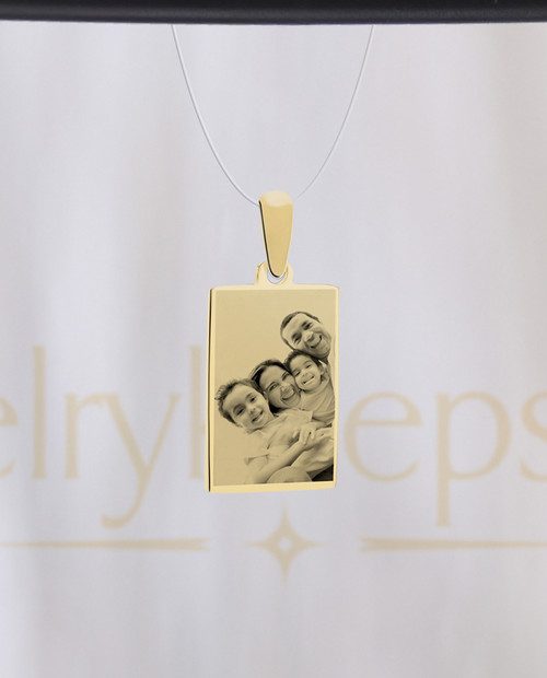 Gold Plated Rectangle Photo Pendant