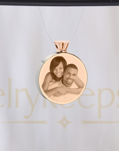 Photo Engraved Stainless Round Rose Gold Cremation Reflection Pendant