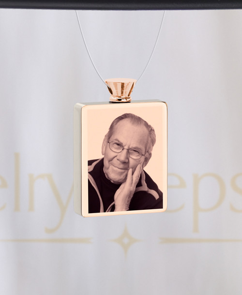 Photo Engraved Rectangle Rose Gold Plated Ash Reflection Pendant