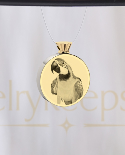 Photo Engraved Round Stainless Gold Plate Pet Reflection Ash Pendant