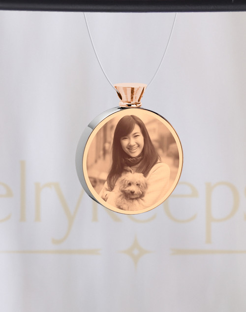 Photo Engraved Round Stainless Rose Gold Pet Ash Reflection Pendant