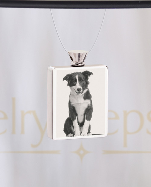 Photo Engraved Rectangle Stainless Pet Cremation Reflection Pendant