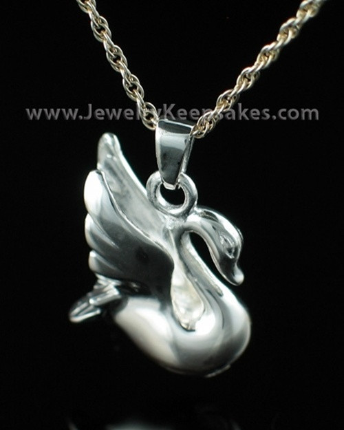 Cremation Urn Necklace Sterling Silver Swan