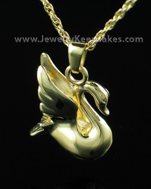 Cremation Urn Necklace Gold Plated Swan