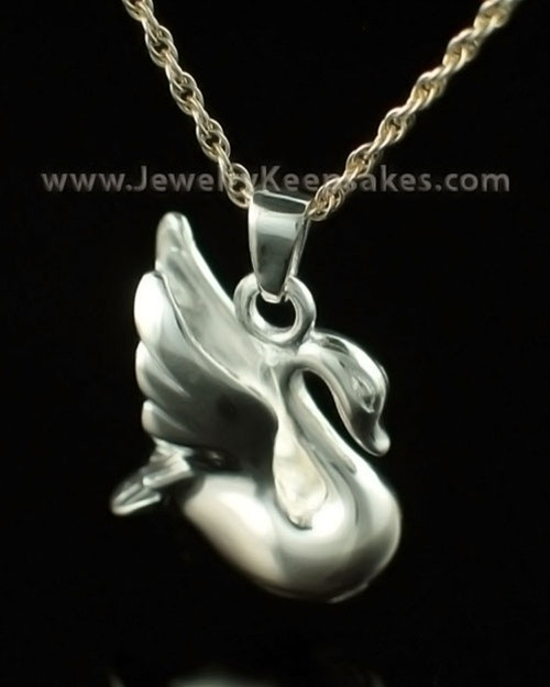 Cremation Urn Necklace 14K White Gold Swan