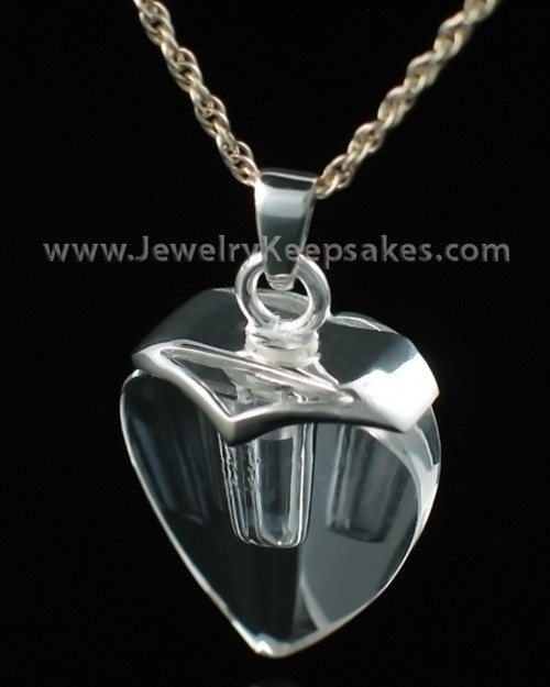 Cremains Jewelry Sterling and Crystal Heart