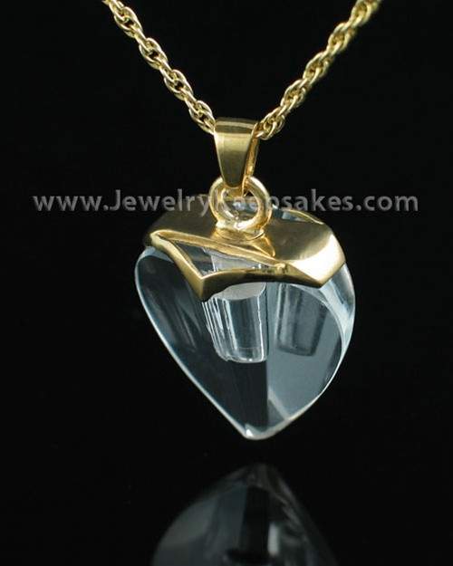 Cremains Jewelry Gold Vermeil and Crystal Heart