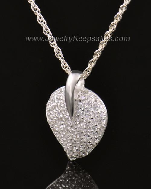 Memorial Locket 14K White Gold Blaze Heart