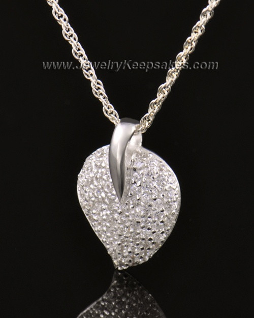 Memorial Locket 14K White Gold Blaze Heart