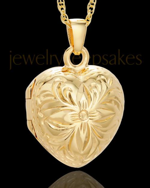 Cremation Jewelry 14K Gold Daisy Heart Keepsake