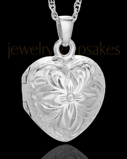Cremation Jewelry Sterling Silver Daisy Heart Keepsake