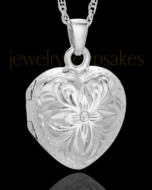 Cremation Jewelry Sterling Silver Daisy Heart Keepsake