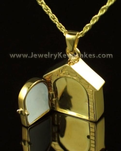 Pet Urn Jewelry 14K Gold Dog House Keepsake