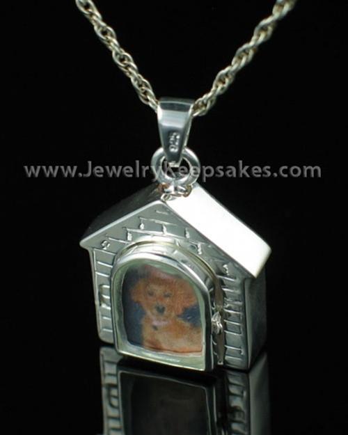 Pet Urn Jewelry Sterling Silver Dog House Keepsake