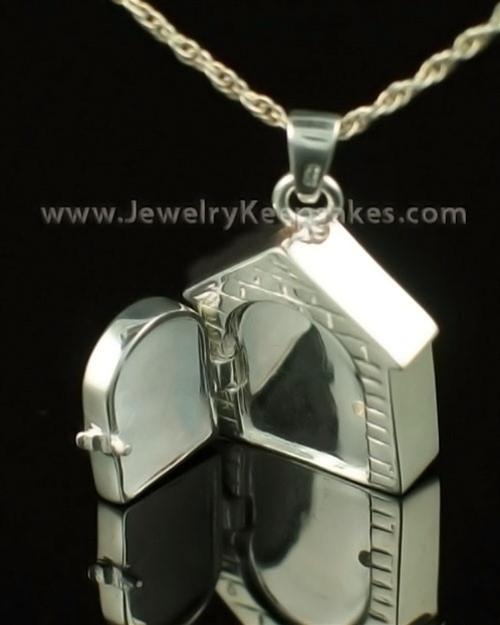 Pet Urn Jewelry 14K White Gold Dog House Keepsake