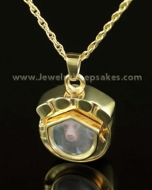 Cremation Pet Locket 14K Gold Photo Paw Keepsake