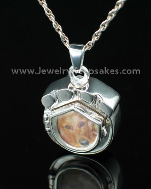 Cremation Pet Locket Sterling Silver Photo Paw Keepsake