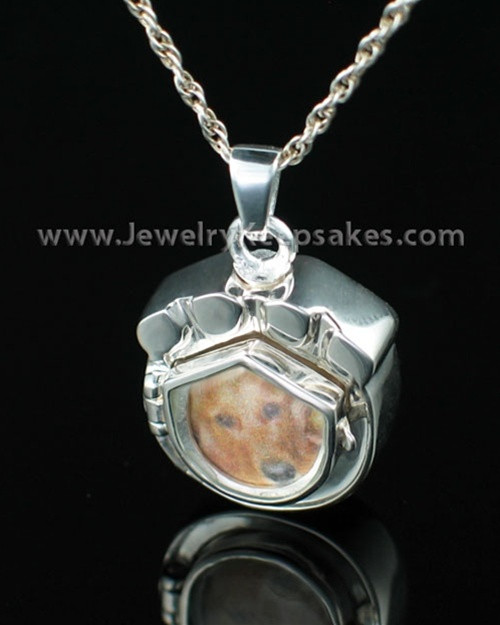 Cremation Pet Locket Sterling Silver Photo Paw Keepsake