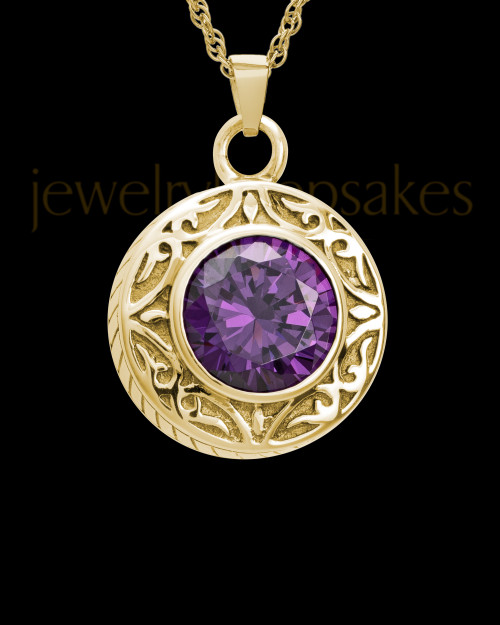 Keepsake Cremation Jewelry 14K Gold Plum