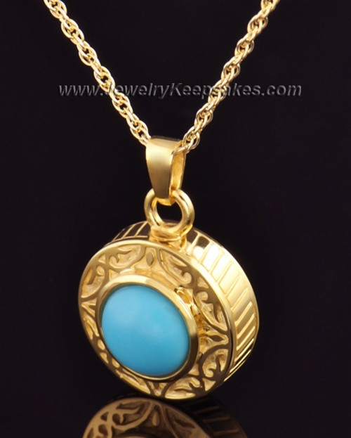 Keepsake Cremation Jewelry Gold Vermeil with Turquoise