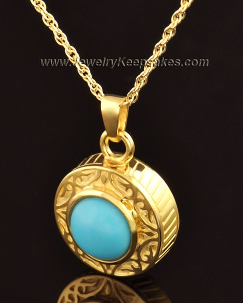 Keepsake Cremation Jewelry 14K Gold with Turquoise