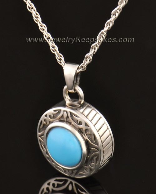 Keepsake Cremation Jewelry 14K White Gold with Turquoise