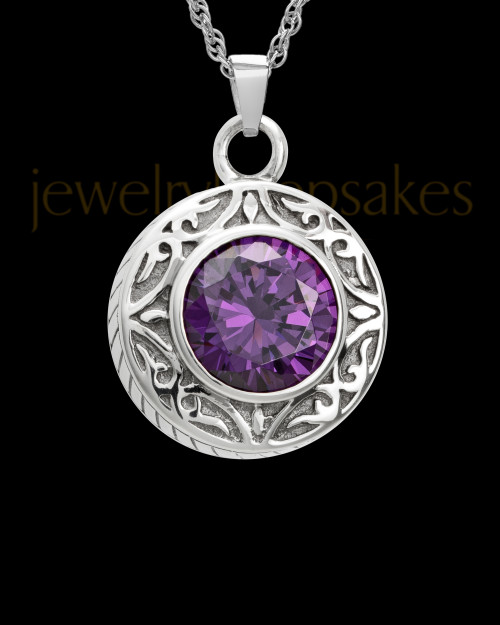 Keepsake Cremation Jewelry 14K White Gold Plum