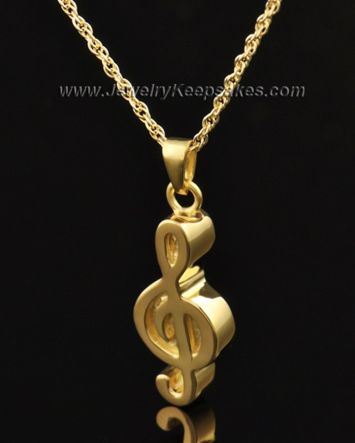 Jewelry Urn Gold Vermeil Music Note Keepsake