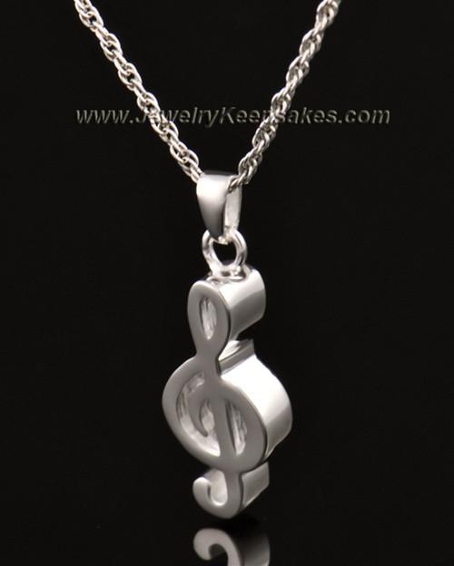 Jewelry Urn 14K White Gold Music Note Keepsake